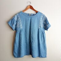 Talulah Embroidered Chambray Top Size Small Women's Blue White Short Sleeve