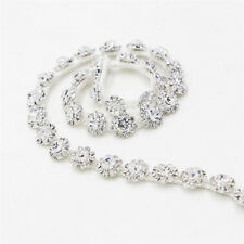 1 Yard Clear Crystal Rhinestone Chain Silver Tone for Costume Applique Trims DIY