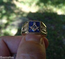 MASONIC MASON 18K GOLD NAVY BLUE GP RING ALL SIZES 6 7 8 9 10 11 12 13 14 15