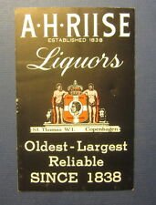 Old Vintage 1950's - A.H. RIISE - LIQUORS - Price List - ST THOMAS - West Indies