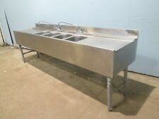 """Eagle"" H.D. Commercial (Nsf) Ss 96""W - 4 Compartments Under Counter Bar Sink"