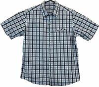Kathmandu Enact Mens Blue Check Short Sleeve Button Up Shirt Size M