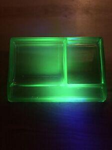 Vintage Uranium Green Depression Glass Desk Organizer Card Holder Rare