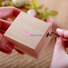 Wooden Craft DIY Mechanical Hand Crank Musical Box Kids Child Toy Christmas Gift