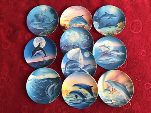 COALPORT MAGICAL DOLPHINS PLATES by Robin Koni by Dubury Mint with certificate