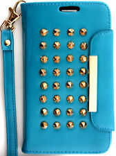 Teal Rivet Wallet PU Leather Case Leopard Interior Samsung Galaxy S3 lll i9300