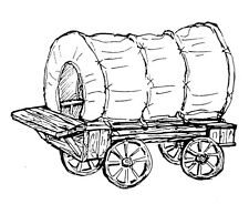 Unmounted Rubber Stamps, Western, Art Stamps, Pioneer Days, Old Covered Wagon,