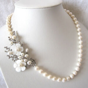 """20.5"""" 7-9mm White Freshwater Pearl Necklace Pendant A"""
