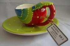 Rocking Roosters Tony Gallo Cup & Saucer Set NIB Retired 4865-3 Red Green Yellow