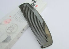 """5.9"""" Nice QIAOYATOU Natural Black Ox Horn Fine-toothed Unisex Health Care Comb"""