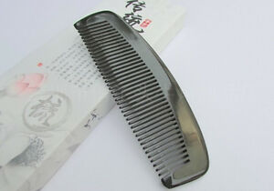 "5.9"" Nice QIAOYATOU Natural Black Ox Horn Fine-toothed Unisex Health Care Comb"