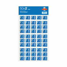 More details for 50 x large letter second class royal mail post office stamps blue 2nd class uk