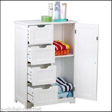 White Cabinet Bathroom Storage Unit Cupboard 4 Drawers Floor Kitchen Home Door