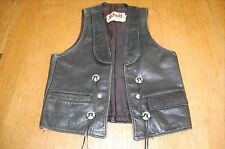 Schott NYC VTG Small BLACK LEATHER VEST Western Concho Motorcycle Wear