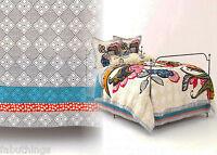 Anthropologie Laelia Twin Bed Skirt Cotton Voile Gorgeous Grey Blue Orange Print
