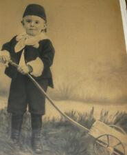 ANTIQUE CLOTH WOOD ART FRAME BOY CHILD PAINTING PHOTO PASTEL PRINT OIL WHEEL TOY