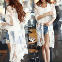 Women's Casual Floral Loose Long Shawl Cardigan Boho Lace Tops Jacket Blouse