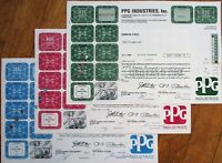 'Pittsburgh Plate Glass / PPG Industries, Inc.' Stock Certificates - 3 DIFFERENT