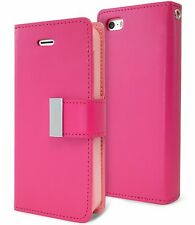 for iPhone SE & 5S HOT PINK Leather Case Magnetic Multi Cards Wallet P