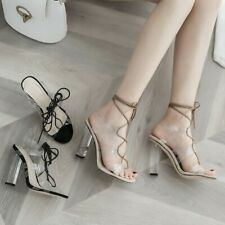 Womens Fashion Transparent Slingback Ankle Wrap High Heel Sandals Shoes KEOA