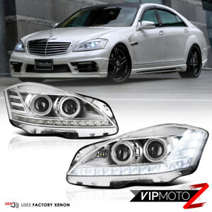 For 2007-2013 Benz W221 S550 S63 D1S Projector DRL Headlights Pair Xenon Models