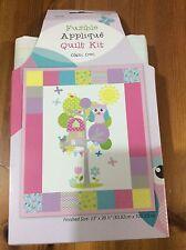 """Owl Design Applique Cot/Crib/Baby/Child Patchwork Cotton Quilt Kit Size 33x39.5"""""""