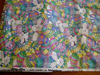 Happy Easter MM Fabric 3 yards Fabric cotton Bunny eggs pastel bright