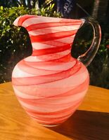 Blown Art Glass Pitcher Applied Clear Handle Cased red & white swirl