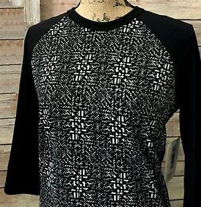 NWT Lularoe Size Small Black Sleeves White Geometric Randy Women's T-Shirt Top