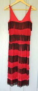 Vintage Red & Black Long Fringe Flapper Style Long Cocktail Dress Costume Size S