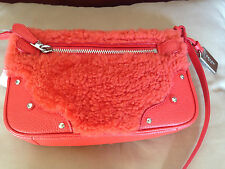 Coach SMALL RHYDER POCHETTE IN SHEARLING Orange/Silver