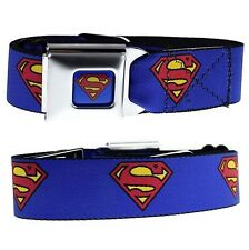 Classic Superman DC Comics Blue Seatbelt Style Stainless Steel Buckle Down Belt