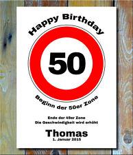 Personalisiertes Geburtstagsgeschenk Verkehrszeichen Bild 50 Deko Verkehrsschild