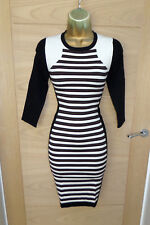STUNNING KAREN MILLEN KNIT JUMPER DRESS SZ 2 UK 10 12 WIGGLE STRETCH