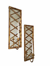 """""""SUMMER PALACE"""" STYLIZED BAMBOO WALL SCONCE PAIR - CANDLE HOLDER - ANTIQUE GOLD"""