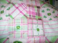 2 layer  pink  cotton flannel John deere   baby toddler personalized  blanket