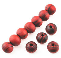100 Pcs 8mm RED Wood Woodgrain Spacer Loose beads Bracelets charms Findings