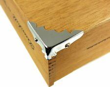 Cigar Box Guitar Parts: 8pc. Decorative Nickel Box Corners with Screws 32-23-01
