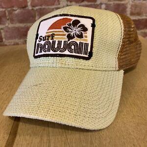 Surf Hawaii SnapBack Mesh Cap Hat Adult Red Woven Straw Beach Ocean