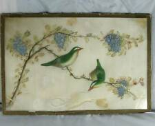 ANTIQUE CHINESE FINE PAINTING BIRDS on PITH PAPER c1870 some damage