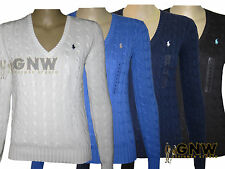 Women's Chunky, Cable Knit Knit V Neck None Cotton Jumpers & Cardigans