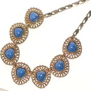 Blue Stone Womens Chain Heart Choker Necklace Bib Necklace Gold Jewelry