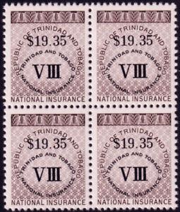 Trinidad & Tobago c1991 National Insurance $19.35 revenue block (4) **MNH cv £20