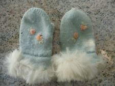 Vintage 1950s Light Blue Pink Flower Knitted Knit Baby Mittens Rabbit White Fur