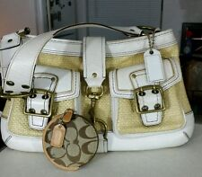 Coach Legacy Straw Woven Leather Trim hand Bag with Coin Purse White See Desc.