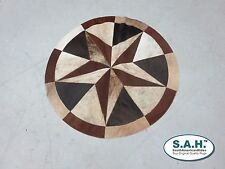New Rug Leather Star Cow Hide Patchwork Area Round Carpet 40''