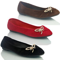 NEW WOMENS LADIES FLAT SUEDE BALLERINA DOLLY BALLET PUMPS SHOES SIZE 3 4 5 67 8