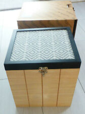 "WOODEN STORAGE BOX GREY 9"" X 9"" X9"" GOOD QUALITY NEW"