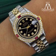Women's Rolex SS & Gold 31mm Datejust Glossy Black String Dial Ruby Diamond
