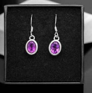 Sterling Silver 925 Ladies Oval Gemstone Purple Amethyst Drop Earrings Jewellery